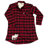 Moose Plaid Flannel Nightshirt