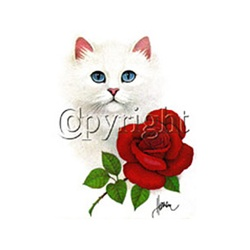 Cat with Red Rose Custom Nightshirt